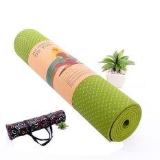 Hình ảnh Thảm tập Yoga siêu cao cấp TPE đúc 1 lớp dày 8mm màu xanh cốm (có túi đựng đi kèm)