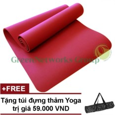 Hình ảnh Thảm tập yoga siêu cao cấp tpe đúc 1 lớp GreenNetworks 8mm kèm túi (Đỏ)