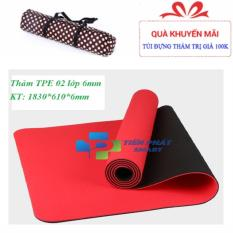 Hình ảnh Thảm tập yoga TPE 2 lớp 6mm cao cấp (Tặng túi+Dây buộc)