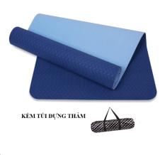 Hình ảnh Thảm tập yoga Zeno TPE 2 lớp cao cấp kèm túi chống nước (Xanh dương)