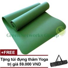Thảm yoga đài loan GreenNetworks TPE 8mm 1 lớp kèm túi (Xanh lá)