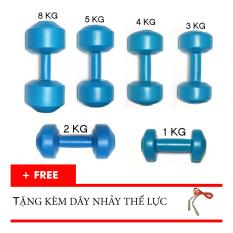 Hình ảnh Trọn bộ tạ tay nhựa VN 1kg, 2kg, 3kg, 4kg, 5kg, 8kg (Tặng dây nhảy thể lực)