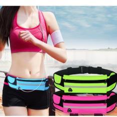 Túi Đai đeo bụng chạy bộ 3 ngăn có dải phát quang Loại 1 H103 (Xanh lá)