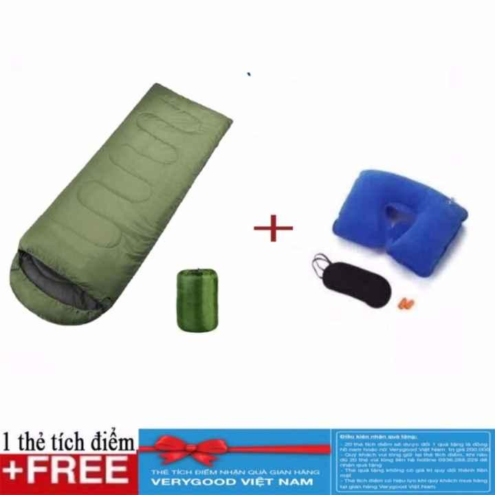 Túi ngủ đông + gối hơi chữ U bịt mắt và bịt tai - Tặng kèm thẻ tích điểm Verygood
