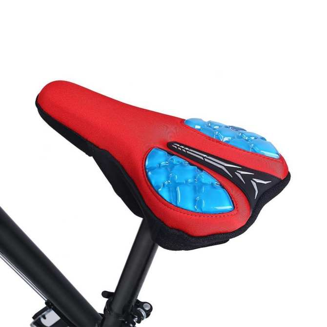 ebayst【clearance sale+ready stock】Ultra-light Mountain Bicycle Road Bike Silica Gel Cushion Seat Saddle Cover Pad (Red)