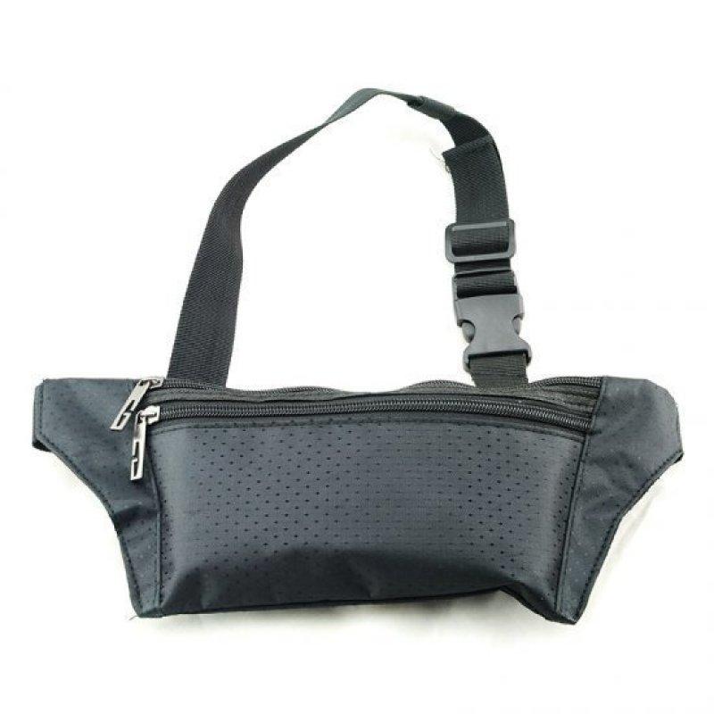 Unisex Running Bum Bag Travel Handy Hiking Sport Fanny Pack Waist Belt Zip Pouch Black