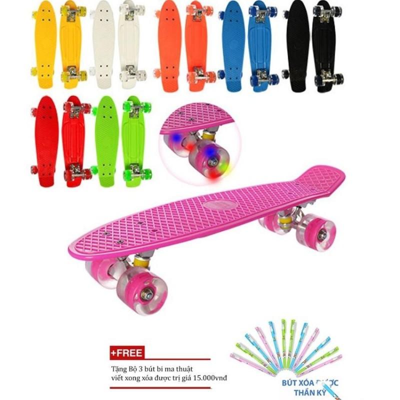 Ván trượt người lớn giá rẻ chống trượt có đèn Led (Màu ngẫu nhiên) + Tặng bộ 3 bút bi ma thuật