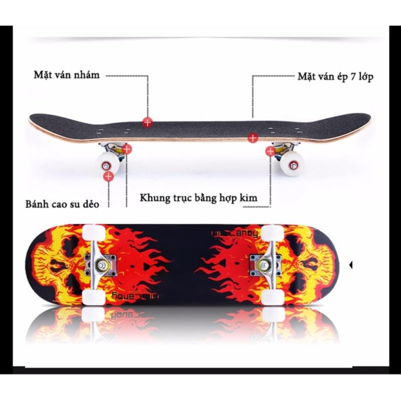 Ván Trượt Skate Board Loại Lớn (Mặt nhám bánh cao su đục)