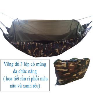 Võng mùng 3 lớp - cỡ lớn dài 2m45 - võng du lịch vải dù rằn ri có màn chống muỗi đốt thumbnail