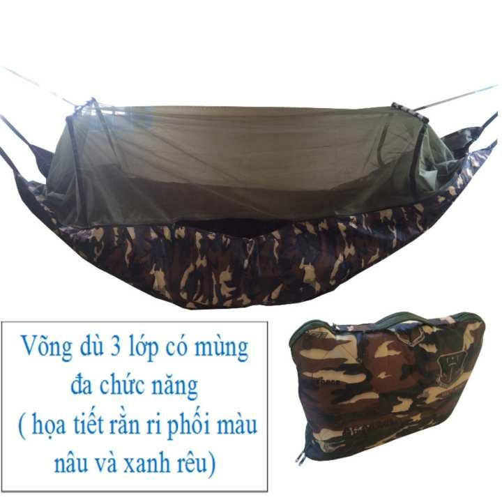 Võng dù 3 lớp có mùng đa năng ( họa tiết rằn ri ) võng cỡ lớn dài 2 mét 45 chống muỗi và côn trùng đốt .