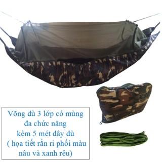 Võng dù 3 lớp có mùng đa năng và 5 mét dây dù ( họa tiết rằn ri ) võng cỡ lớn dài 2 mét 45 chống được muỗi và côn trùng cắn thumbnail