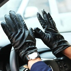 Woman Men's Velvet Black Winter Warm Leather Gloves for Cycling Driving - intl