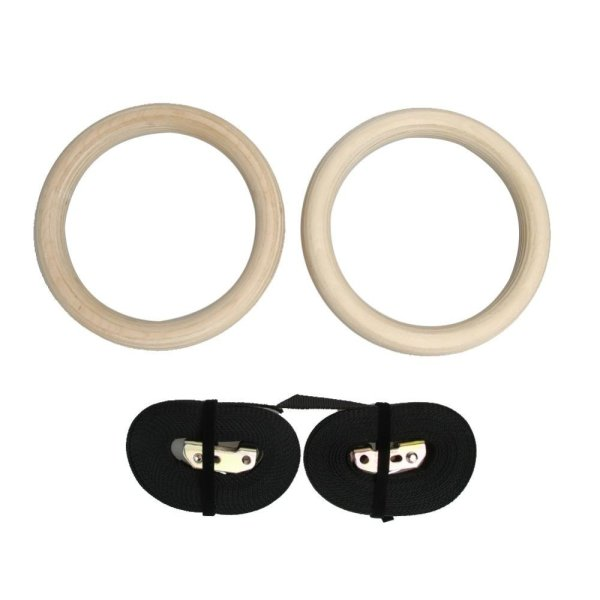 Bảng giá Wood Gymnastic Gym Rings with Adjustable Buckles Straps Cross Fitness -  intl
