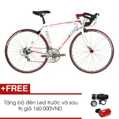 Xe đạp đua JETT MATCH 1.0 WHT (Trắng) + Tặng 1 bộ đèn Led trước và sau