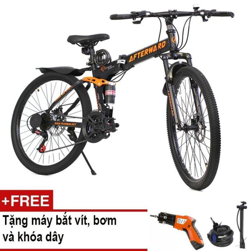Phân phối Xe đạp gấp địa hình AfterWard (Đen) + Tặng máy bắt vít, khóa chống trộm và bơm xe