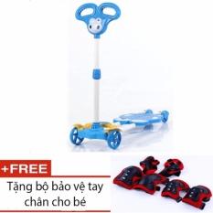 Giá bán Xe trượt Scooter 4 bánh cho bé (Xanh dương) + tặng kèm bộ bảo vệ tay chân cho bé
