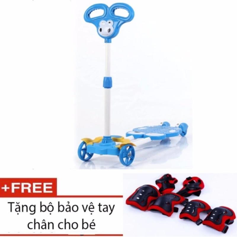 Mua Xe trượt Scooter 4 bánh cho bé (Xanh dương) + tặng kèm bộ bảo vệ tay chân cho bé