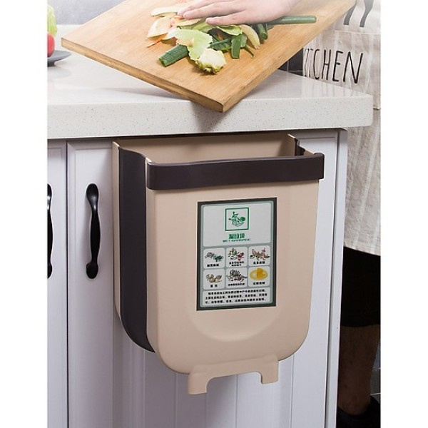 Thùng rác thông minh, gấp gọn treo cánh tủ siêu tiện dụng