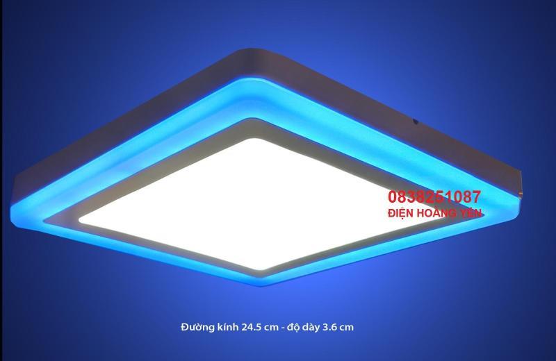 Đèn led ốp trần 24w vuông 2 màu 3 chế độ trắng xanh. Chất liệu: vỏ nhôm sơn tĩnh điện Ánh sáng: trắng - viền xanh dương Kiểu đèn vuông thây đổi màu theo công tắc chính. ( mỗi lần bật tắc)