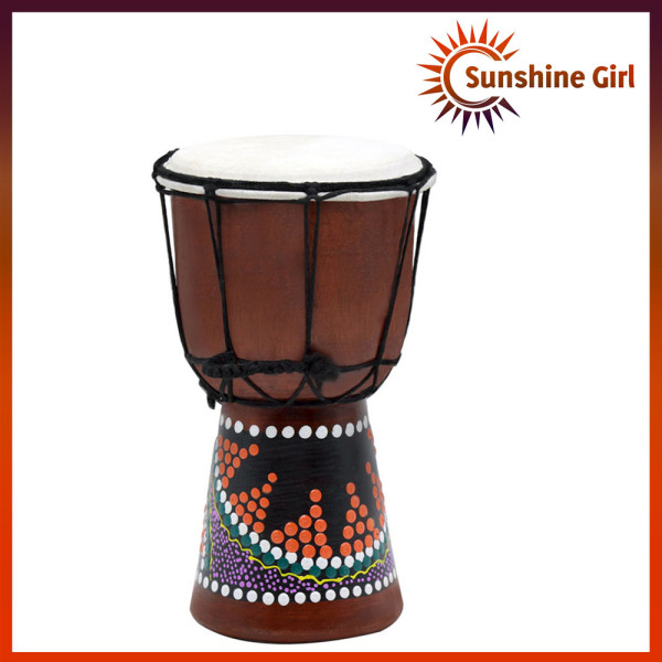 4 Inch Compact Size Wooden African Drum Djembe Bongo Hand Drum Percussion Musical Instrument with Colorful Pattern (Patterns Random Delivery)