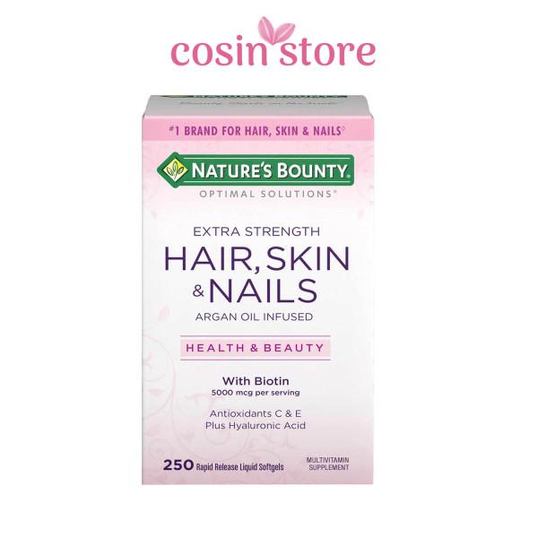 Viên uống Natures Bounty Optimal Solutions Hair, Skin & Nails Extra Strength 250 viên with Biotin - Giúp tóc và móng luôn khỏe mạnh giá rẻ