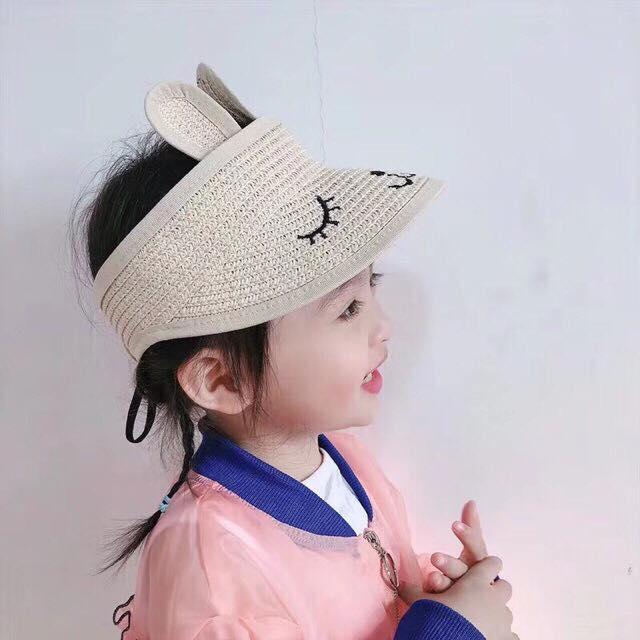 Mũ Cói Tai Thỏ Cho Bé Gái