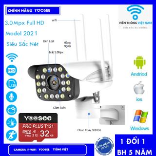 ( Tùy Chọn Thẻ Nhớ 128GB - BH 60 Tháng ) Camera Yoosee , Camera Wifi , Camera Không Dây , Camera Trong Nhà , Camera Ngoài Trời 4 Râu 20 Led Full HD 4.0 Mẫu Mới 2021 - CAMERA CỐ ĐỊNH thumbnail