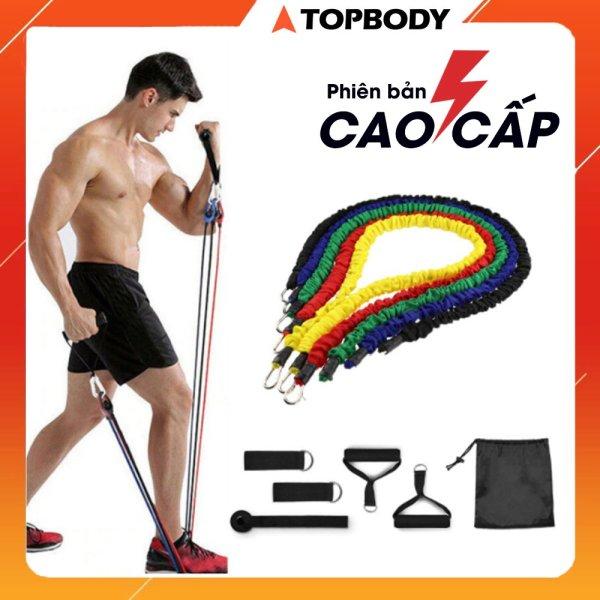 Bộ 5 dây ngũ sắc tập full body tại nhà - dụng cụ tập gym, dây tập thế thao tại nhà TOPBODY - D5MAU02