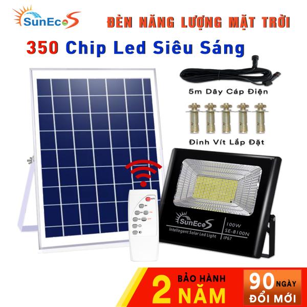 Bảng giá [ NEW ] Đèn năng lượng mặt trời 100W SUNECO, đèn Led Năng Lượng Mặt Trời 100W ABS Kèm tấm pin siêu bền, 350 Chip Led siêu sáng, remote thông minh, cảm biến tự động, dây nối 5m, thời gian sáng 10 - 14h, Bảo Hành 24 Tháng