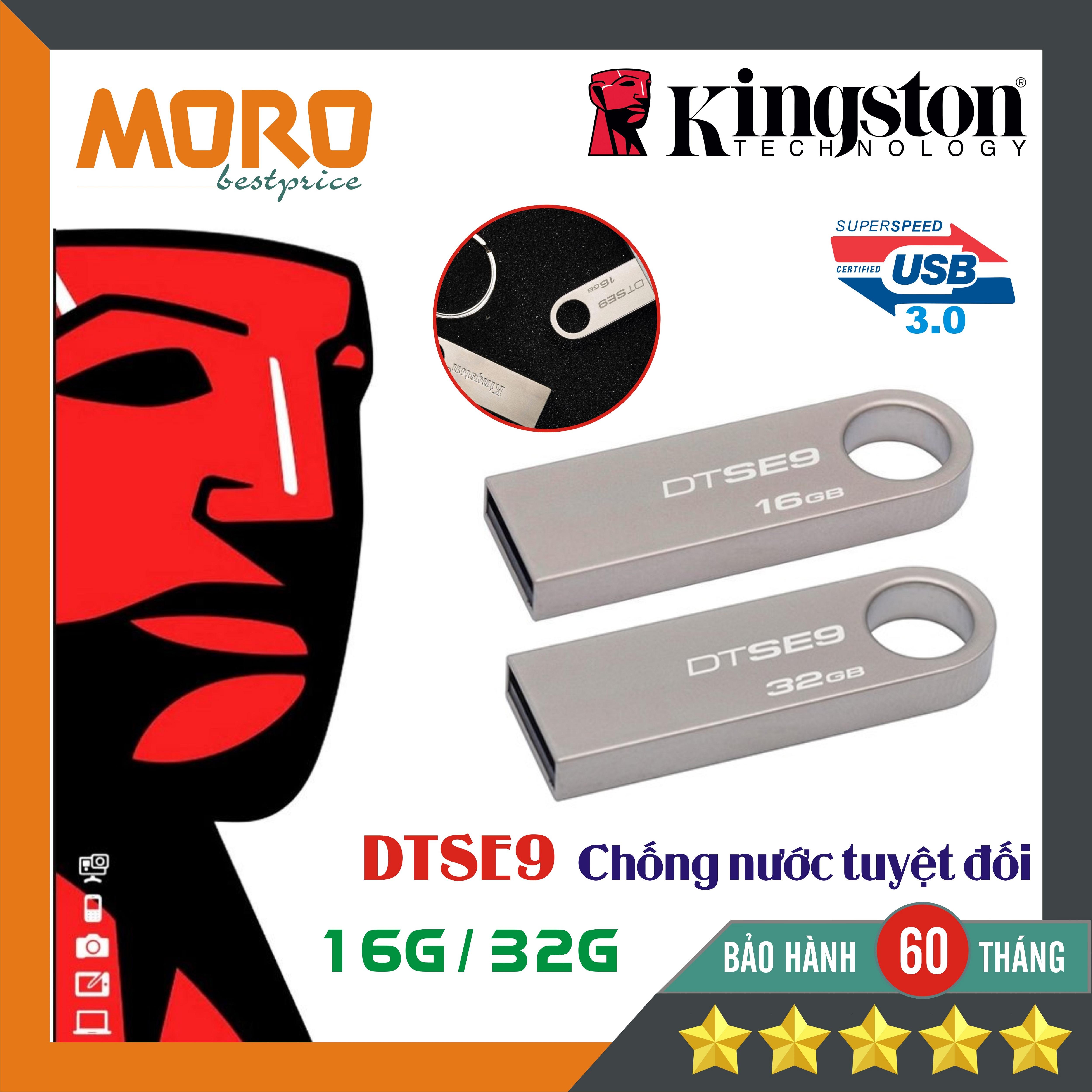 Hot Deal Khi Mua [Chống Nước] USB 3.0 Kingston DTSE9 16GB/32GB - Chất Liệu Kim Loại - Bảo Hành 5 Năm