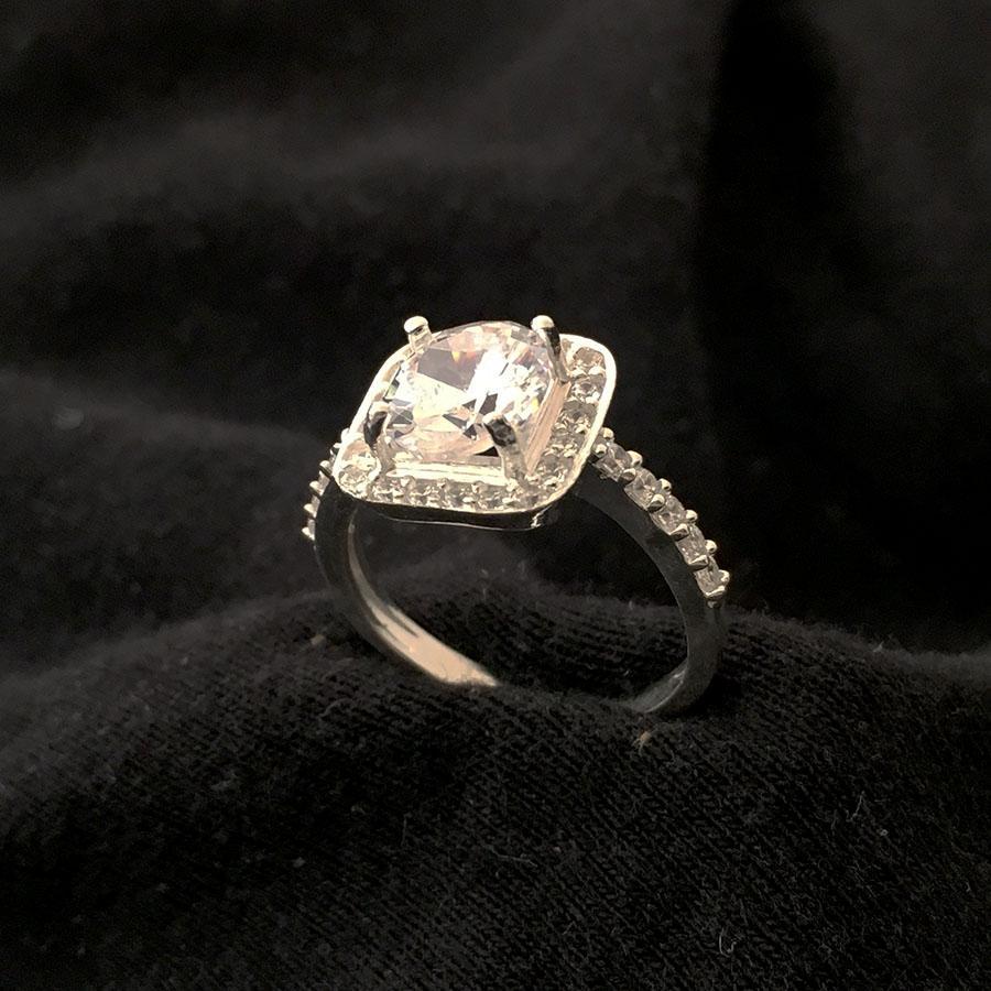 Nhẫn nữ bạc - Nhẫn bạc nữ - Nhẫn nữ giá rẻ - Nhẫn nữ bạc 925 - Nhẫn nữ bạc ổ cao gắn đá maù trắng cao cấp - NU6a- Liên Minh Shop(bạc)