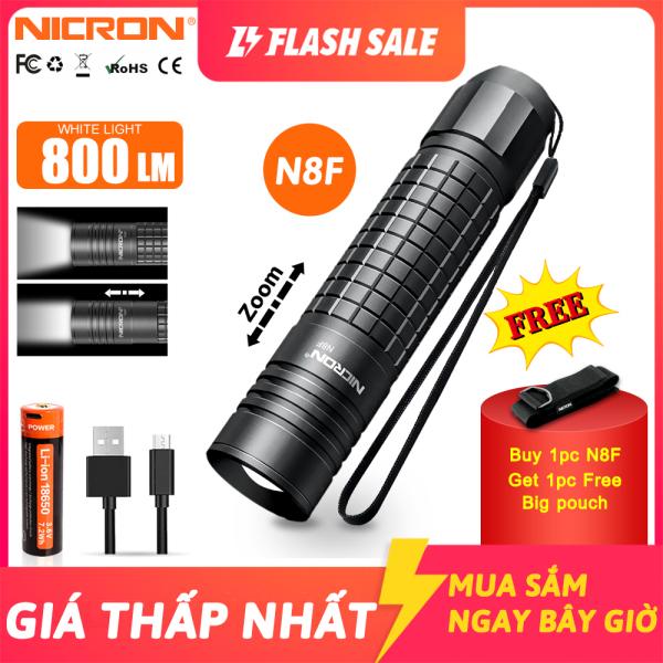 Đèn pin Nicron độ sáng cao 800LM có thể tùy chỉnh chùm sáng và chống nước IP65 dùng khi đi đi ngoài trời N8F - INTL