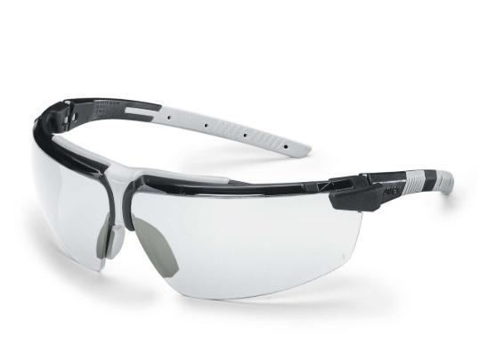 Kính Uvex 9190280 I-3 Safety Glasses Black Frame Clear Supravision HC-AF Len Gọng Đen phối Xám\ Tròng Clear trong (tặng kèm hộp đựng kính)