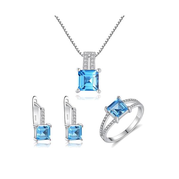 Bộ Trang Sức Bạc Nữ Trang Sức Đính Đá Topaz Xanh Cao Cấp 3 Món Cho Phái Nữ BNT619 Bảo Ngọc Jewelry [THIẾT KẾ ĐỘC QUYỀN]