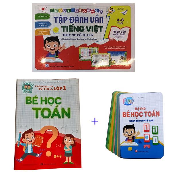 Combo Sách Tập Đánh Vần Tiếng Việt + Bé Học Toán + Bộ Thẻ FlashCard Bé Học Toán
