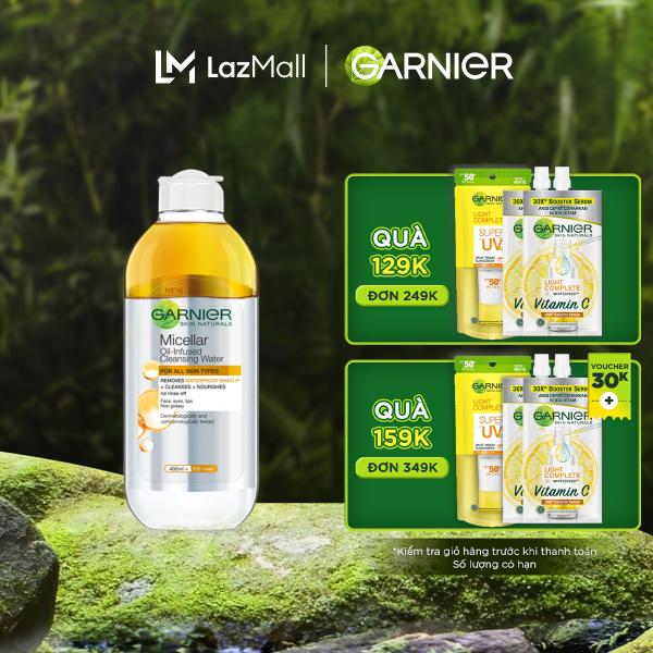 [Đơn 349K tặng túi + 3 quà] Nước làm sạch và tẩy trang cho da khô & trang điểm lâu trôi Garnier Micellar Water Oil-Infused 400ml nhập khẩu