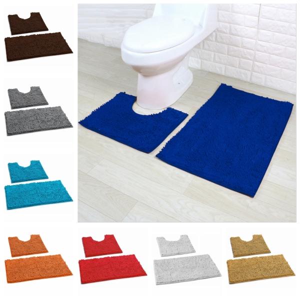 Bộ 2 Tấm Thảm Nhà Tắm Bằng Chenille Thảm Phòng Tắm Chống Trượt Bộ Thảm Bệ Bồn Cầu Mềm Giặt Được Trang Trí Nhà Cửa