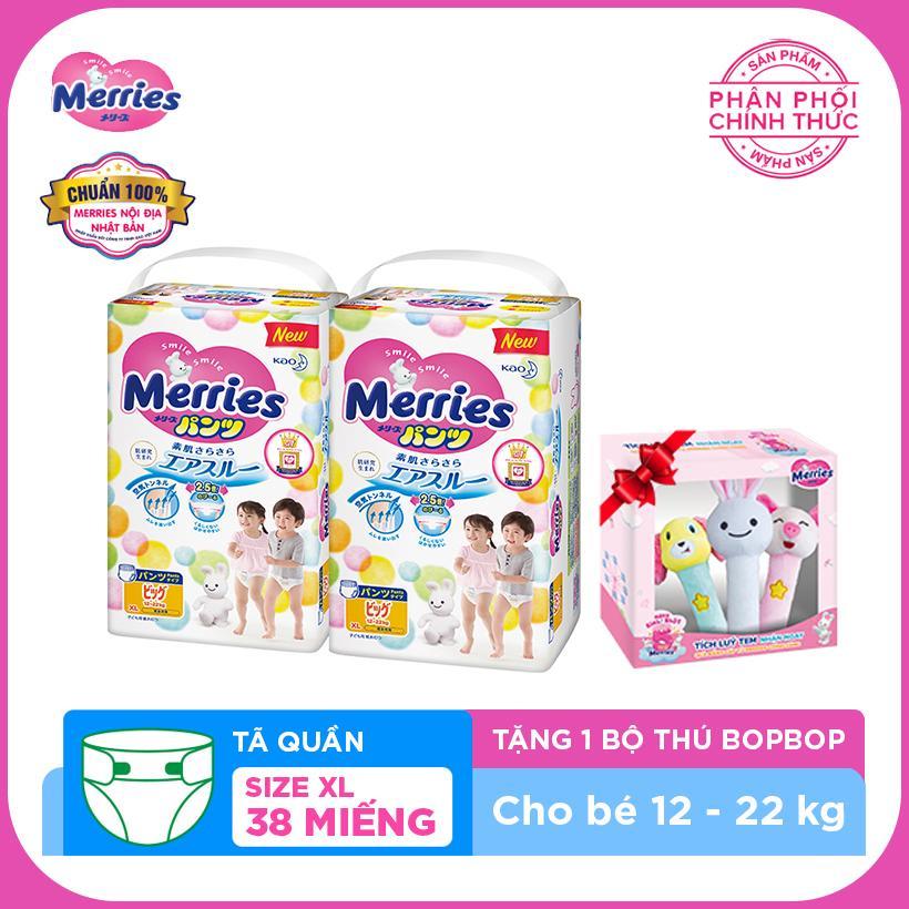 MUA 2 Tã quần Merries size XL - 38 miếng...