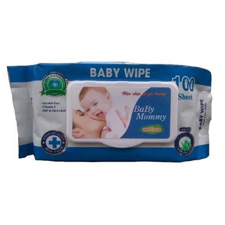 khăn ướt 100 tờ BABYMOMMY thơm dịu nhẹ tự nhiên...