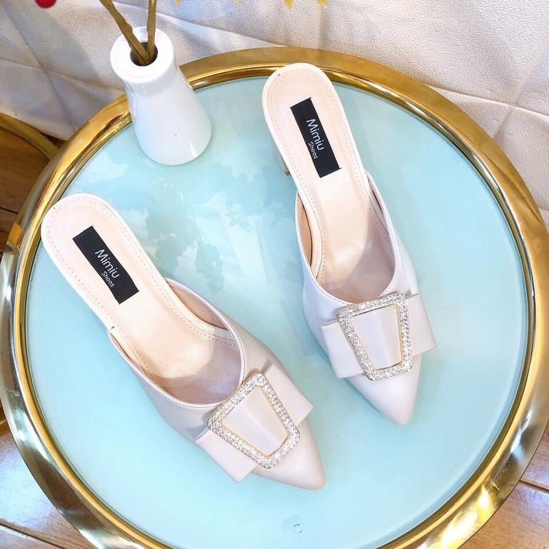 Giày Sục Nữ, Giày Cao Gót Nữ Đế Vuông Thời Trang, Mũi Nhọn Hở Gót Da Bóng, Gót Cao 5P