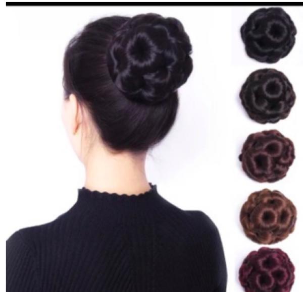 (Nhiều màu) Búi hoa tóc giả kẹp xước cao cấp cho quý bà - MÀU ĐEN và hạt dẻ - màu bạc cao cấp