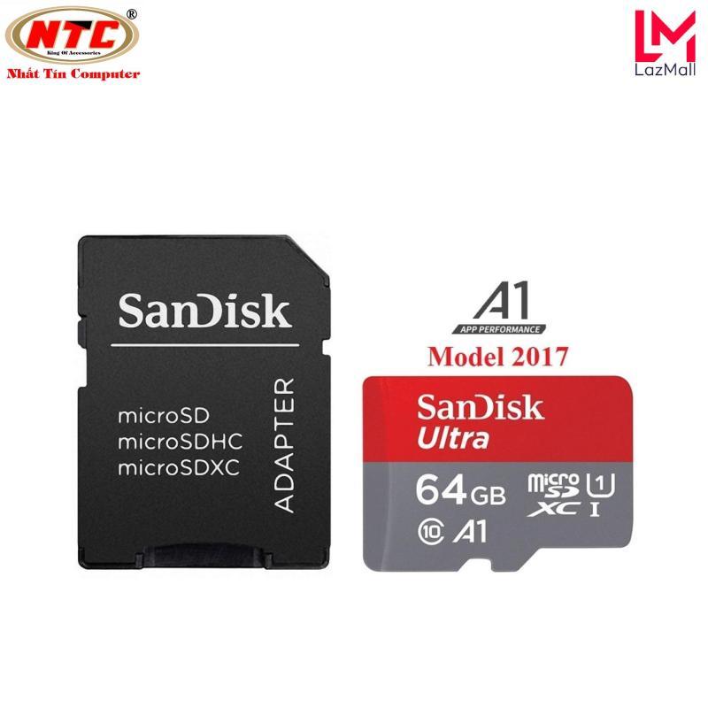 Thẻ nhớ MicroSDXC SanDisk Ultra A1 64GB Class 10 U1 100MB/s kèm adapter - Model 2017 (Xám đỏ) - Nhat Tin Authorised Store