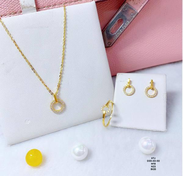 Bộ trang sức vàng 10k đá tròn BTS48
