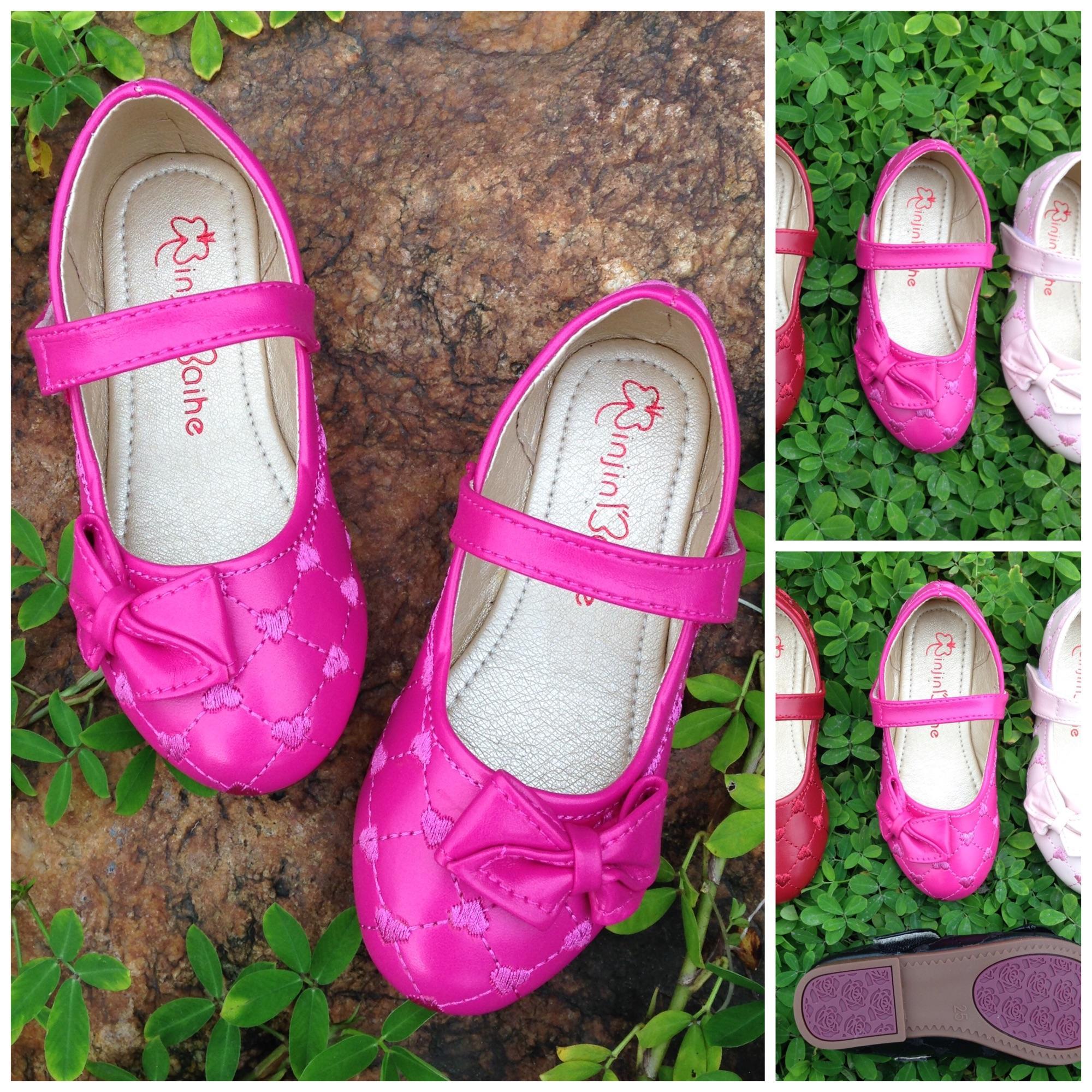 Giá bán Giày sandal cho bé gái thêu trái tim sz25-34 Màu sen