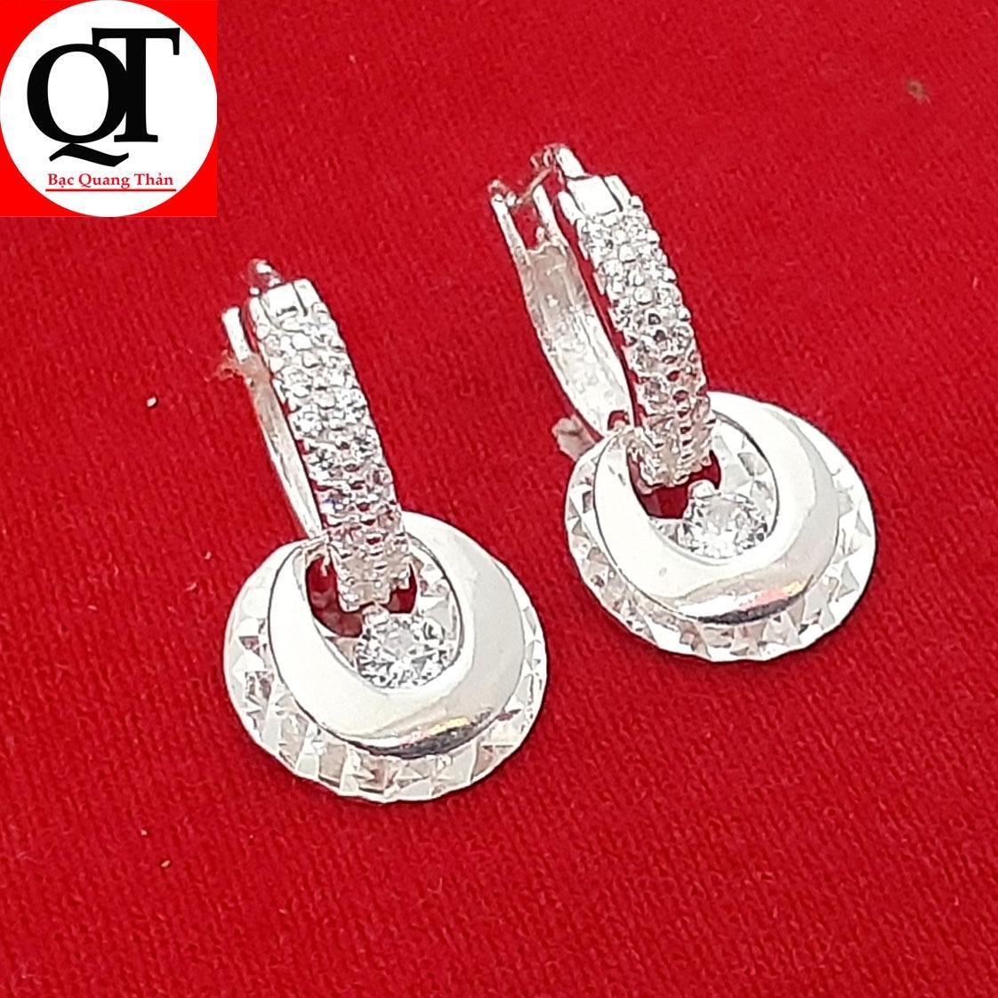Bông tai nữ Bạc Quang Thản, khuyên tai nữ dáng dài 100% chất liệu bạc thật phay sáng bóng , khóa đeo chắc chắn , phong cách thời trang dễ kết hợp trang phục thích hợp đeo tại các buổi dạ tiệc – QTBT10