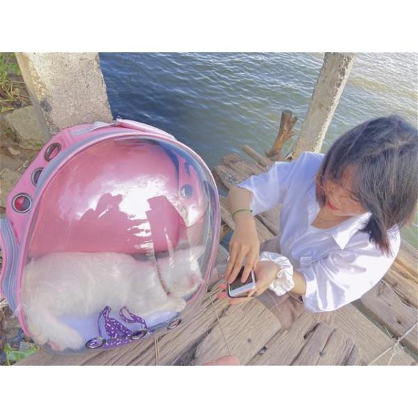Balo phi hành gia trong suốt, những lỗ thoáng khi trên bề mặt và bên hông , giúp bé cưng của bạn bên trong luôn được thoải mái