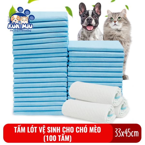 Tấm lót vệ sinh cho chó mèo Kún Miu kích cỡ 33x45cm (bịch 100 tấm)