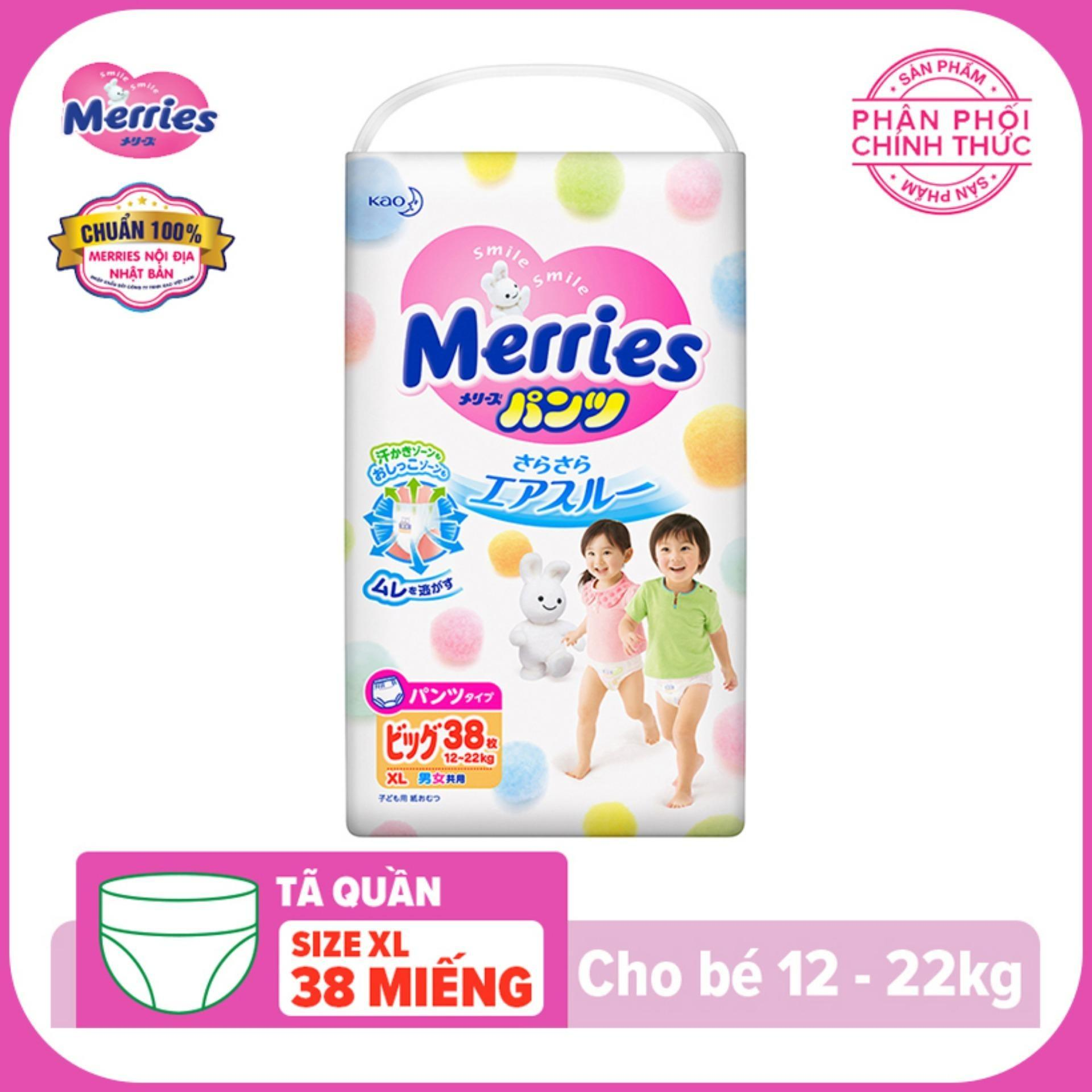 Bỉm - Tã quần Merries size XL - 38 miếng...