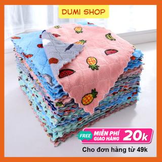 Combo 5 Khăn Lau Đa Năng Mẫu Mới Size Lớn 25x25cm - Khăn lau bếp - khăn lau chén đĩa, khăn lau đa năng hoa quả, khăn lau tay thumbnail