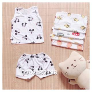 Ba lỗ họa tiết dễ thương - SÉT 5 bộ quần áo ba lỗ chất coton sợi cho bé trai- bộ đồ ba lỗ cho bé gái - bộ quần áo ba lỗ sơ sinh 0-16kg